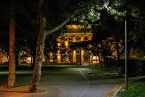Hintergrundbilder Österreich Wien Gebäude Nacht Bäume Städte
