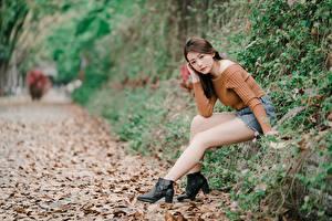 Fotos Herbst Asiatisches Blattwerk Braunhaarige Sitzt Unscharfer Hintergrund Bein junge Frauen