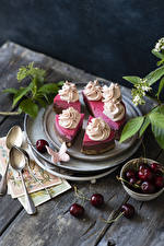 Pictures Cakes Cherry Butterfly Piece Spoon Food