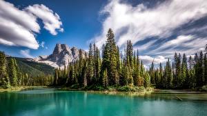 Hintergrundbilder Kanada Gebirge Park See Bäume Wolke Emerald Lake, Yoho National Park, British Columbia