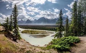 Hintergrundbilder Kanada Park Berg Flusse Landschaftsfotografie Bäume Wolke Jasper National Park, Alberta