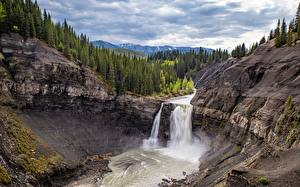 Pictures Canada Waterfalls Forest Cliff Trees Alberta Nature
