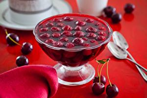 Images Cherry Varenye Spoon Bowl Food