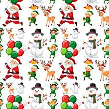 Image Christmas Texture Deer Santa Claus Snowman White background