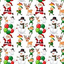Bilder Neujahr Textur Hirsche Weihnachtsmann Schneemänner Weißer hintergrund