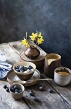 Photo Coffee Cappuccino Blueberries Wood planks Mug Vase Branches Food