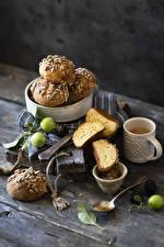Hintergrundbilder Kaffee Backware Brötchen Äpfel Bretter Becher