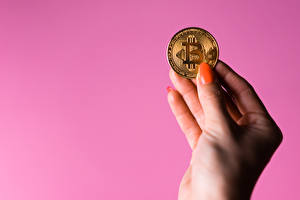 Wallpapers Coins Bitcoin Colored background Hands Manicure