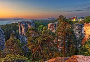 Desktop wallpapers Czech Republic Sunrises and sunsets Cliff Trees Liberec region, Karlovice Nature