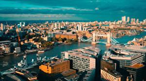 Hintergrundbilder England Fluss Brücke Gebäude London Von oben Städte