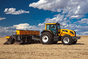 Photo Fields Agricultural machinery Clouds Tractors Valtra BH