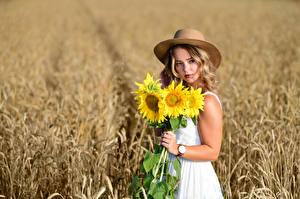 Images Fields Helianthus Bouquets Hat Hands Dress Glance Bokeh Selina Girls Flowers