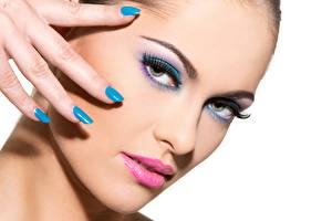 Desktop wallpapers Fingers White background Face Staring Makeup Manicure young woman