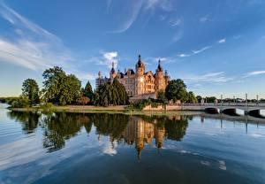 Bilder Deutschland Burg See Schweriner Schloss Natur