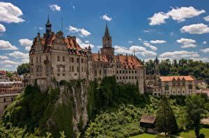 Fotos Deutschland Burg Himmel Türme Felsen  Städte