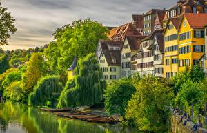 Hintergrundbilder Deutschland Gebäude Flusse Bootssteg Boot Bäume Tuebingen Städte