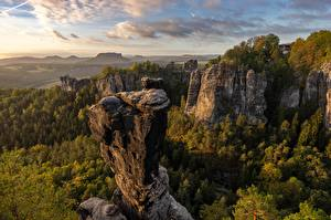 Wallpaper Germany Mountain Cliff Clouds Trees Bastei Nature