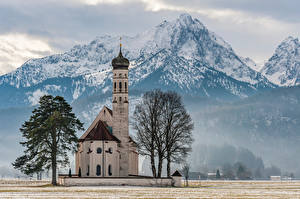Images Germany Mountain Church Bavaria Alps Trees Snow St. Coloman Nature