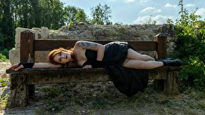Pictures Gothic Fantasy Bench Brown haired Lying down Tattoos Dress Legs Boots Girls