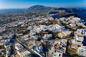 Hintergrundbilder Griechenland Haus Straße Von oben Thira, South Aegean Städte