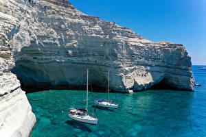 Bilder Griechenland Segeln Jacht Bucht Felsen Ksylokeratia, Milos Natur