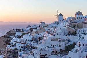 Image Greece Santorini Houses Sunrise and sunset Cities