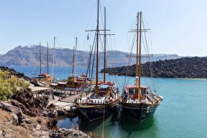 Bilder Griechenland Santorin Bootssteg Segeln Schiffe Bucht Natur