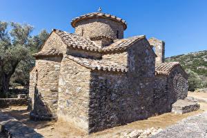 Wallpapers Greece Temple Church Made of stone Agios Isidoros near Rachi, Naxos Cities