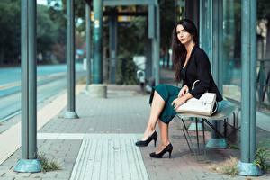 Bakgrundsbilder på skrivbordet Handväska Brunett tjej Trädgårdsbänk Sitter Ben Dam klackar ung kvinna