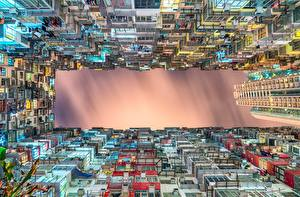 Pictures Building China Evening Hong Kong Bottom view Megalopolis Cities