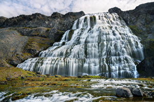 Images Iceland Waterfalls Stone Cliff Dynjandi waterfall Nature