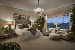 Wallpapers Interior Room Bedroom Bed Window Wing chair Chandelier Lamp