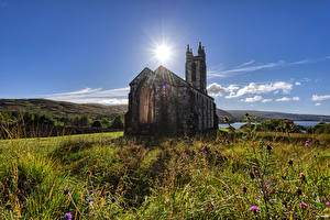 Pictures Ireland Church Old Made of stone Sun Dunlewey Church, Donegal Nature