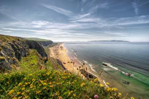 Fotos Irland Küste Meer Himmel Gras Downhill Beach