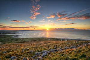 Hintergrundbilder Irland Küste Steine Sonnenaufgänge und Sonnenuntergänge Himmel Ozean Sonne Horizont Gweedore, Donegal