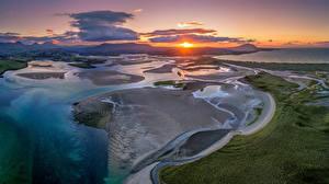 Hintergrundbilder Irland Küste Morgendämmerung und Sonnenuntergang Wolke Sonne Von oben Donegal Natur