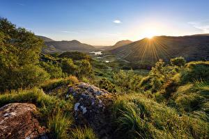 Bilder Irland Berg Parks Stein Sonne Bäume Lichtstrahl Killarney National Park Natur