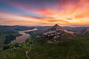 Bilder Irland Berg Sonnenaufgänge und Sonnenuntergänge Himmel Von oben Errigal Mountain Natur