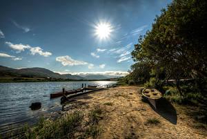 Hintergrundbilder Irland Flusse Boot Himmel Bäume Sonne Ardara, Donegal