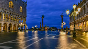Wallpaper Italy Evening Venice Town square Street lights