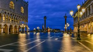 Bilder Italien Abend Venedig Platz Straßenlaterne