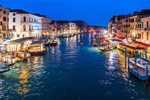 Wallpaper Italy Building Berth Evening Riverboat Venice Canal Street lights Grand Canal in Twilight Cities