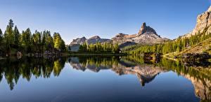 Hintergrundbilder Italien Berg See Alpen Bäume Reflexion Dolomites Natur