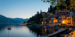 Wallpapers Italy Mountains Lake Evening Alps Trees Lombardy, Lake Como Nature