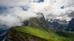 Bilder Italien Berg Alpen Wolke Seceda, Dolomites Natur