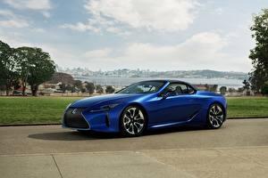 デスクトップの壁紙、、レクサス、オープンカー、青、メタリック塗、LC 500 Convertible, 2021、自動車