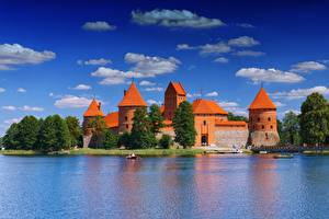 Wallpapers Lithuania Lake Castle Sky Towers Trees Clouds Lake Galve, Trakai Cities