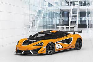 Hintergrundbilder McLaren Fahrzeugtuning Gelb 2016-20 570S GT4 Autos