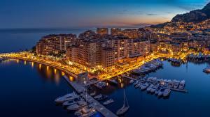 Fotos Monaco Monte-Carlo Sonnenaufgänge und Sonnenuntergänge Bootssteg Motorboot Yacht Städte