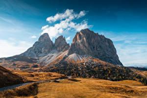 Bilder Berg Herbst Italien Wege Val Gardena, Dolomites